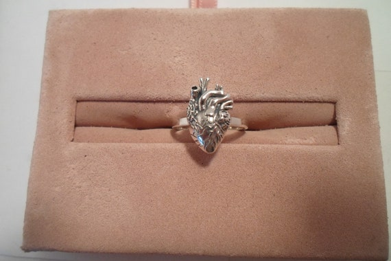 Sterling Silver Anatomical Heart Ring Marked True Love Life Like Every Beat of My Heart Gift Engagement Pre Engagement