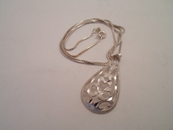 Vintage Pierced Cut Sterling Silver Tear Drop Necklace Pendant 1980's Cool