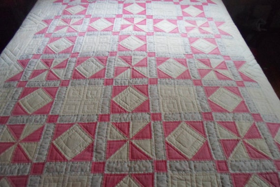 "Vintage Hand Made & Quilted Patchwork Quilt Pinwheels Squares Triangles Nine Patch 94"" x 84"" Pretty in Pink Calico"
