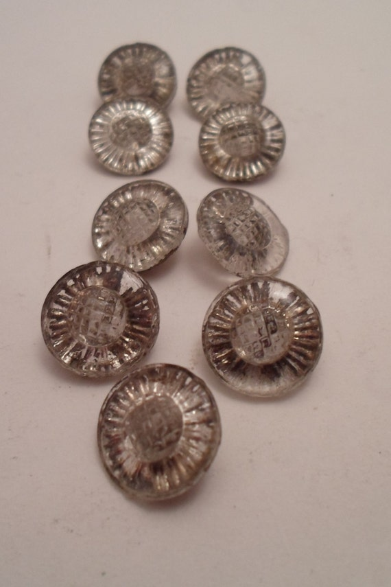 9 Art Deco Gold Metallic Backed Glass Buttons Mirror Like Fluted Molded shank Beautiful