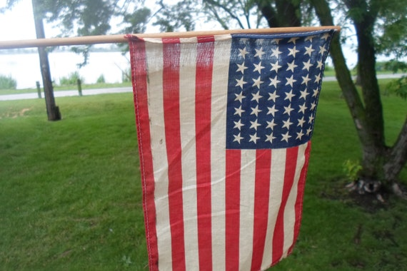 Antique Vintage 48 Star Flag Farm House Find in Indiana Cottage Chic Soft Silk  usa