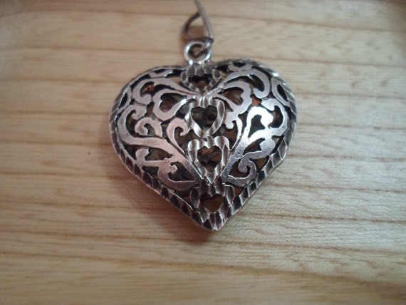 Vintage Heart Pendant Sterling Silver Puffy Pierced Filigreed 1980's