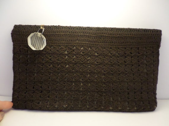 vintage 40's black crochet gray satin inside clutch purse lucite DECO zipper pull
