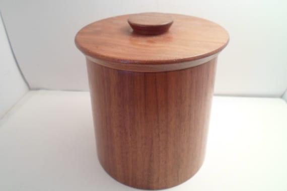 Mid Century Mod Gladmark Burbank California Walnut Wood Canister Jar Crackers Pens Pencils Desk top organizer Storage