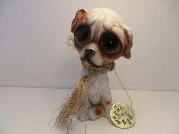 Vintage Enesco sad eyes runaway puppy statue orig tag