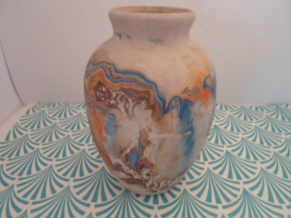 Vintage Nemadji Pottery Vase Fantastic Color Swirl Moose Lake USA