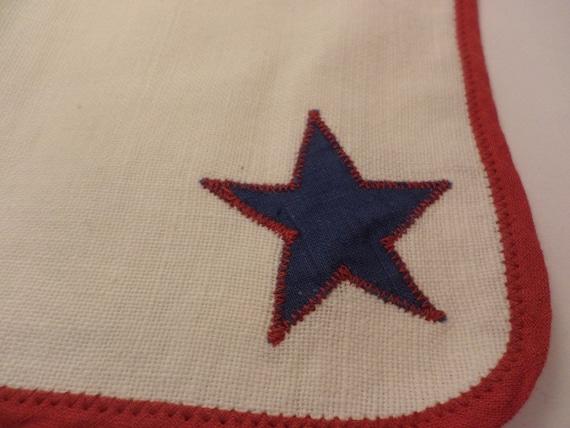 Vintage 50's childs cowboy handkerchief linen red white blue rockabilly