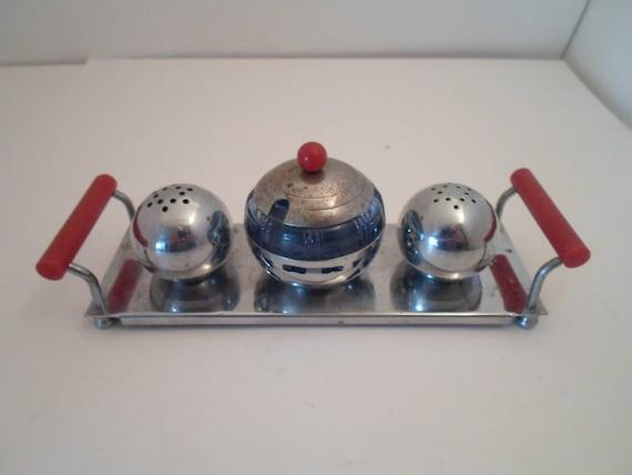 Art Deco Original Chrome Blue Glass Salt Pepper Jam Jar and Tray One of a Kind Adorable