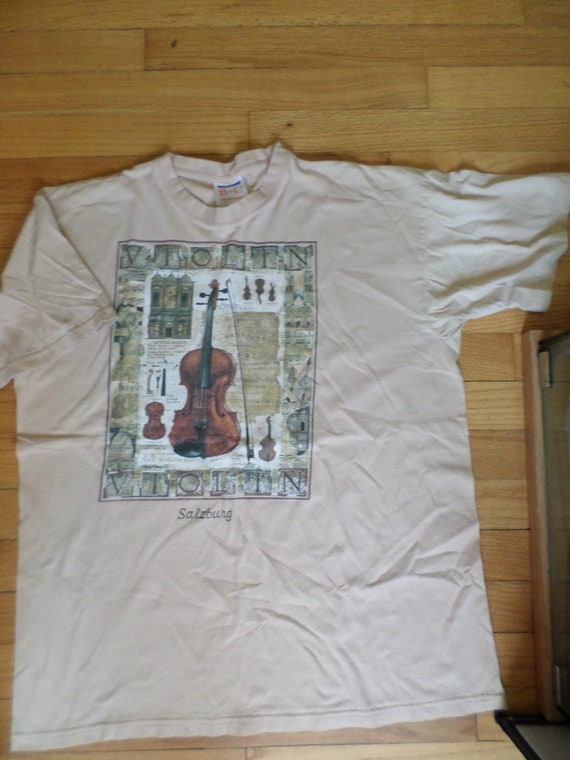 Vintage Salzburg Violin t shirt tan size L B&C label