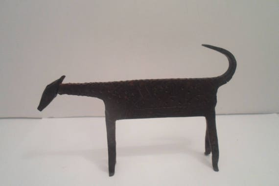 Vintage Iron Egyptian Dog Animal outsider art folk art signed body Prehistoric look Industrial Animal