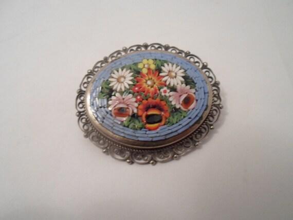 Vintage Mosaic Italian Brooch Pin Daisies Roses Sky Blue Silver plate Filigree