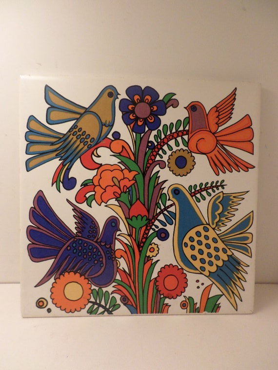 Vintage Villeroy and Boch vibrant bird trivet Made in Germany