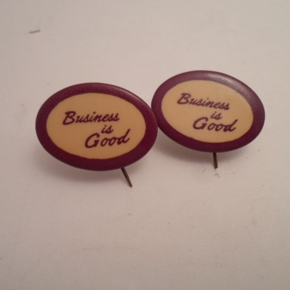 Vintage 2 Pin Back Advertising Buttons Business is Good Panama Beaver Typewriter Luster Inked Ribbions Very Cute