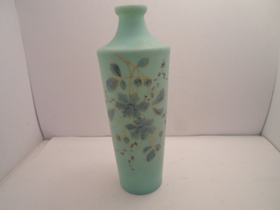 Antique Victorian Bisque Hand Painted Tall Bottle Neck Vase Long Stem Roses Cottage Chic City Cool Robin Egg Blue