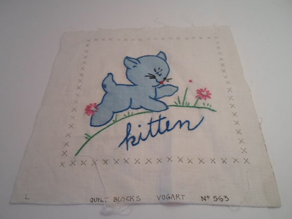 """Antique Vintage 1940's Cotton Embroidered Quilt Square Blue Kitten Cat Flowers 9"""" x 9"""" Cottage Chic Quilt or Frame needs finishing"""