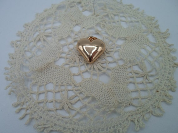 Vintage Puffy Heart Pendant Charm Polished Gold Tone Adorable