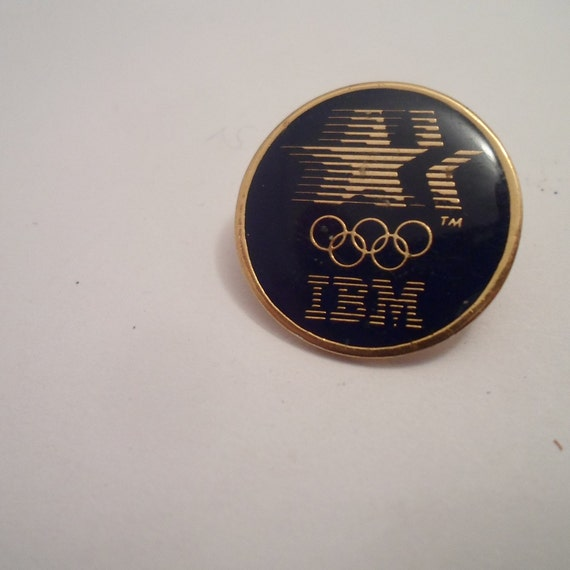 IBM International Business Machine Company Pin Los Angeles Olympic Sponsor Vintage 80's Cool Kitch Button Pin