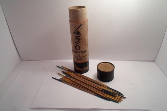 Antique Original 456 Pick Up Sticks Made in usa Wood Sticks Philadelphia Pa. has lid and sticks