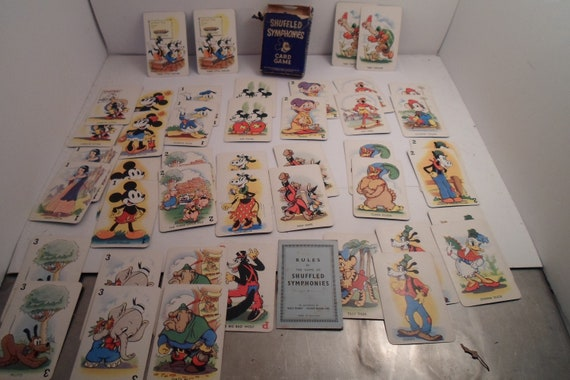 Antique Art Deco Walt Disney Shufeled Symphonies Mickey Mouse Card Game 1930's Hand Colored Litho's Beautifully Colored Characters Genuine