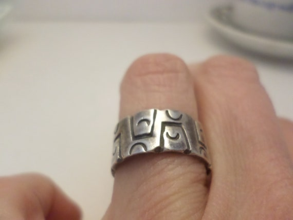 Vintage Mexican silver ring stamped hallmarked Modernist, MCM