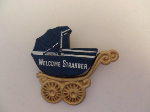 Vintage Deco era plastic & leather Wecome Stranger new baby pin