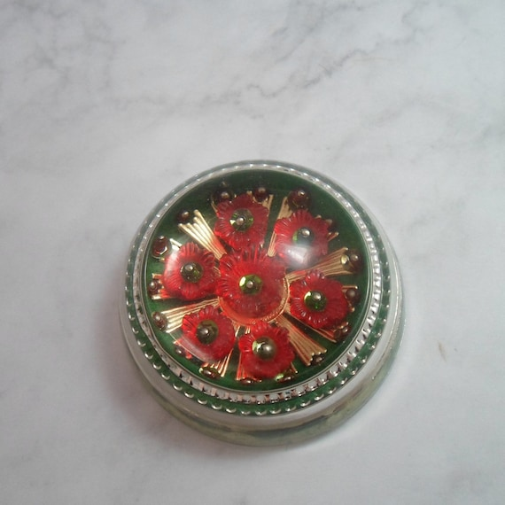 Vintage Glass Paperweight Poppy Flowers Ecclesiastical Golden Rays Beautiful Bright Colors