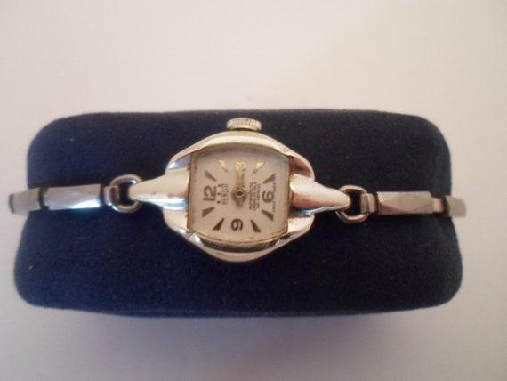 Vintage 1950's Korean War Era Herlin women's wristwatch Back reads Aluminum fond metal As found