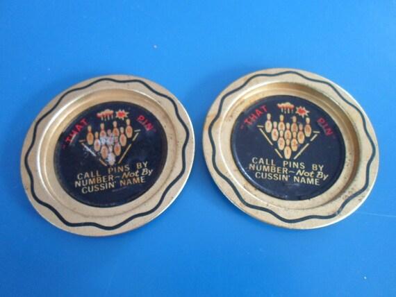 Vintage Bowling Coaster Pair Metal 60's Super Cute