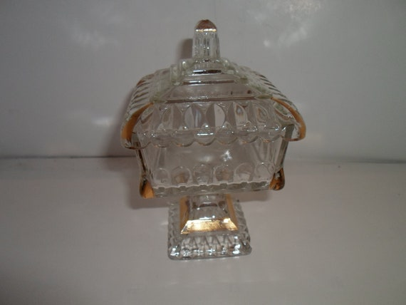 """Antique Pattern Glass Pedestal Covered Candy Dish with Gold Leaf Decor Mini Size Adorable 8""""tall Farm to City Cottage Chic"""