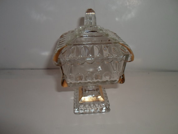 """American Pattern Glass Pedestal Covered Candy Dish with Gold Leaf Decor Mini Size Adorable 8""""tall Farm to City Cottage Chic"""