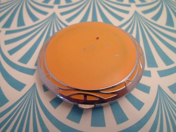 Art Deco Compact Elgin American Bright Yellow Chrome Deco Applied Design Original Interior Marked EAM