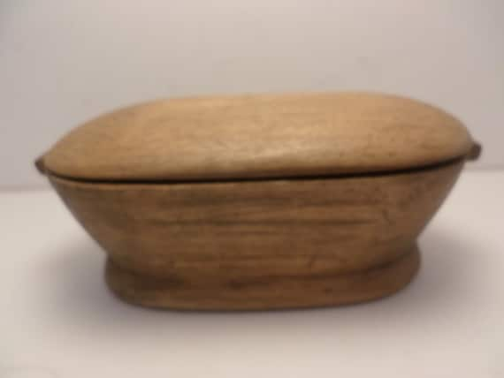 Antique hand carved from one piece of wood primative covered bowl folk art tramp art
