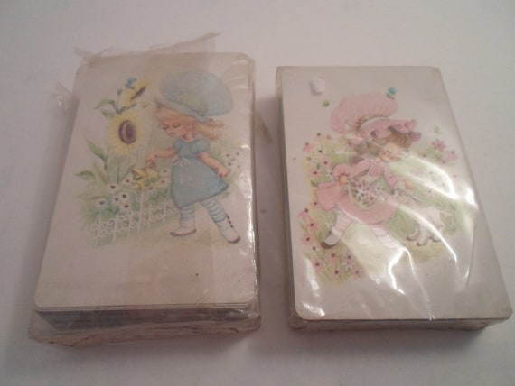 Vintage Prairie Holly Hobby Style 2 Decks of Playing Cards Blue Blonde and Pink Brunette Holly Style Figures 1970's