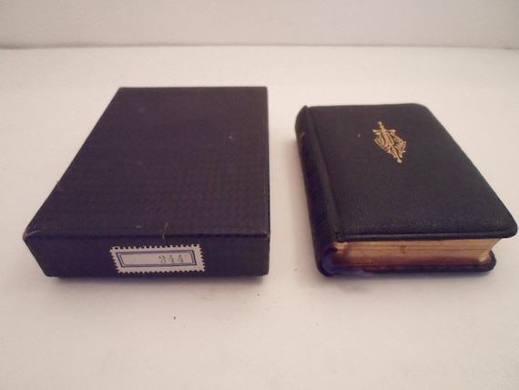 Art Deco Black Polish Language Communion Prayer Book in Original Box Leather Bound Gold Leaf Pages Crucifix inside Dated 1934 hand written