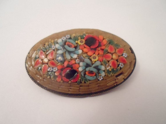 Victorian Mosaic Brooch Pin Vivid Flowers Detailed Hand Made Bouquet