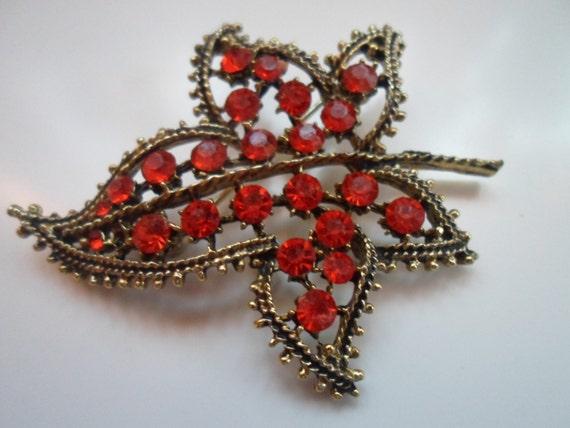 Tangerine Brilliant rhinestone vintage cluster leaf Pin Brooch 1960's Scarf Lapel Jean Hat pin