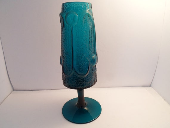 "Mid Century Italian Stelvia Glass Footed Vase unusual Design by Wayme Husted 11"" Super Color and Texture"