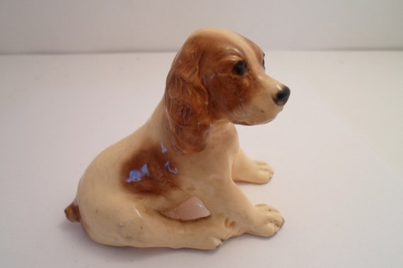 Vintage Old Mortens Studio Spotted Spaniel Excellent Adorable Dog Puppy Stamped on Bottom Loving Face