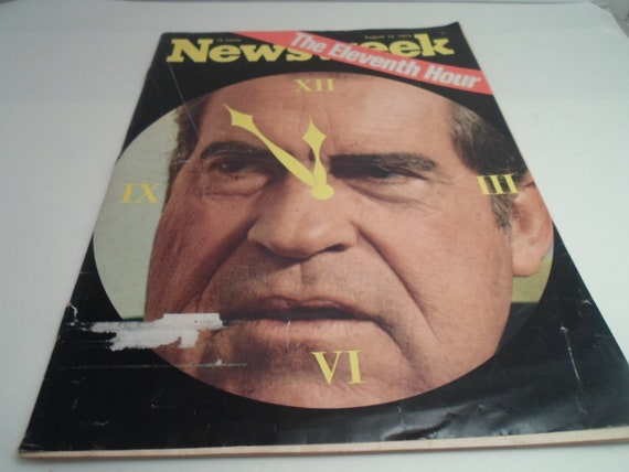 Vintage August 12 1974 Newsweek Eleventh Hour Nixon Clock Face Impeachment Interesting Historical Repeat
