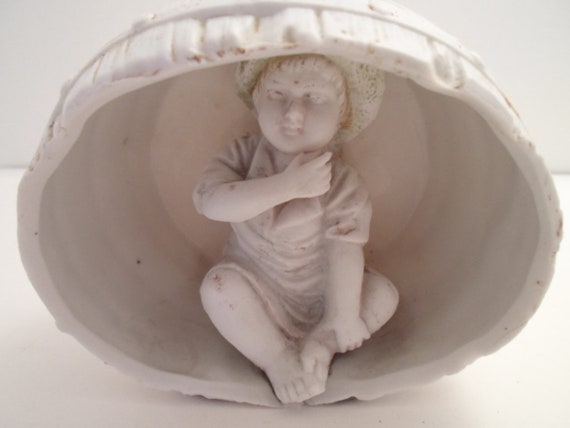 Antique Victorian Edwardian Bisque Baby in a Barrel Rare and Detailed Tom Sawyer Child with Straw Hat Cottage Decor Baby Room