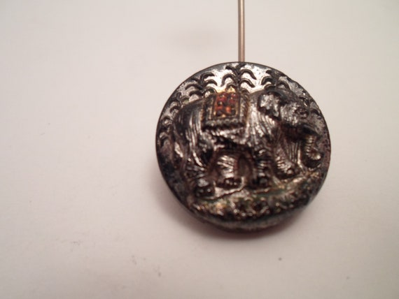 Antique Black Glass Carved Elephant Button Some Hand Colored Areas Opal Luster Dusting of Red Gold Rare Beautiful