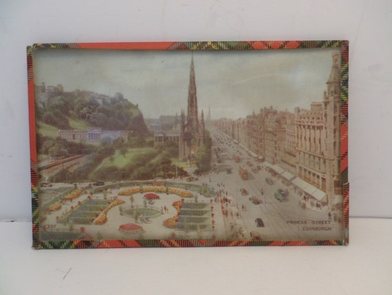 Vintage Edinburgh Princes Street Scotland glass postcard plaid piping 50's