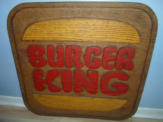 Vintage Burger King Official Sign Dining Logo 1970's Woodworm Texture Advertising