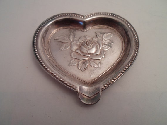 Antique Made In Occupied Japan Silverplate Heart Rose Teaspoon Tray Detailed Design Cottage Garden Chic USA Occupation of Japan WWII