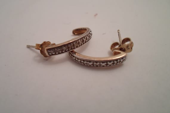Vintage Two Toned Gold on Sterling Silver Pierced Hoop Earrings Excellent Detail Holiday Gift or Selfie