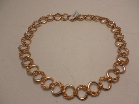Vintage 50's ORA choker necklace gold tone gold stones