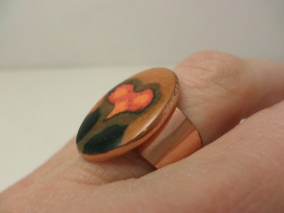 Vintage 70's abstract copper enameled ring owl, flowers Brasil