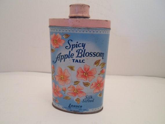 Vintage Antique Spicy Apple Blossom Talc Tin Lander Fifth Ave New York Advertising Cute Vanity Decor