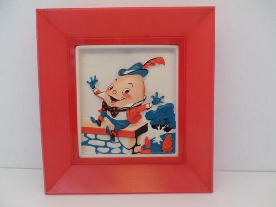 Vintage Vinson Levinson Humpty Dumpty fairy tale puffed plastic picture 50's child