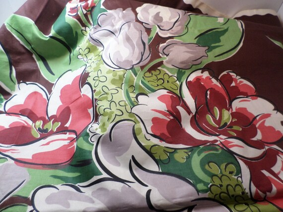 Beautiful Vintage 50's polished cotton textileA Waverly Bonded Fabric GIANT TULIP